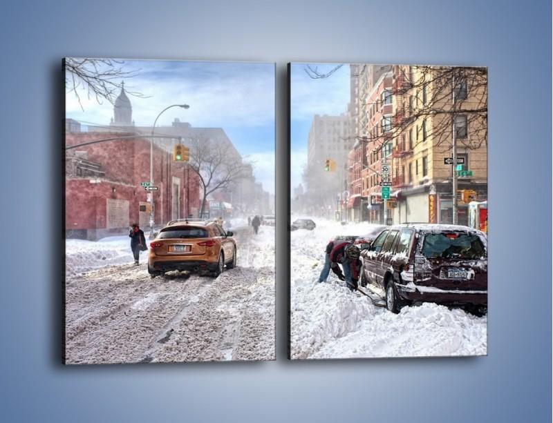 Obraz na płótnie – Zaśnieżone ulice miasta – dwuczęściowy prostokątny pionowy AM342