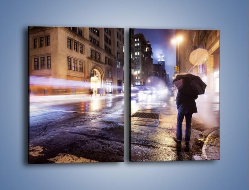 Obraz na płótnie – Deszczowa noc w Nowym Jorku – dwuczęściowy prostokątny pionowy AM343
