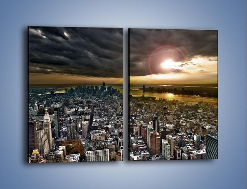 Obraz na płótnie – Czarne chmury nad Nowym Yorkiem – dwuczęściowy prostokątny pionowy AM347