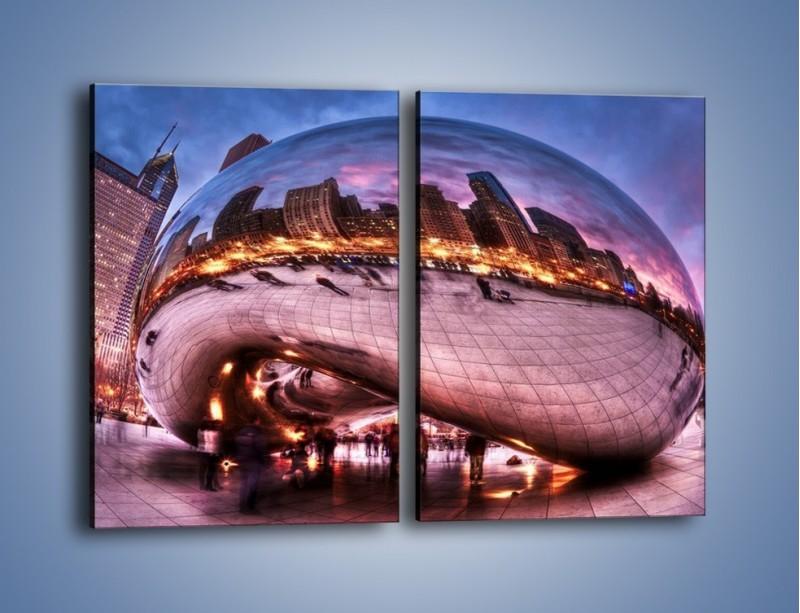 Obraz na płótnie – Cloud Gate w Chicago – dwuczęściowy prostokątny pionowy AM352
