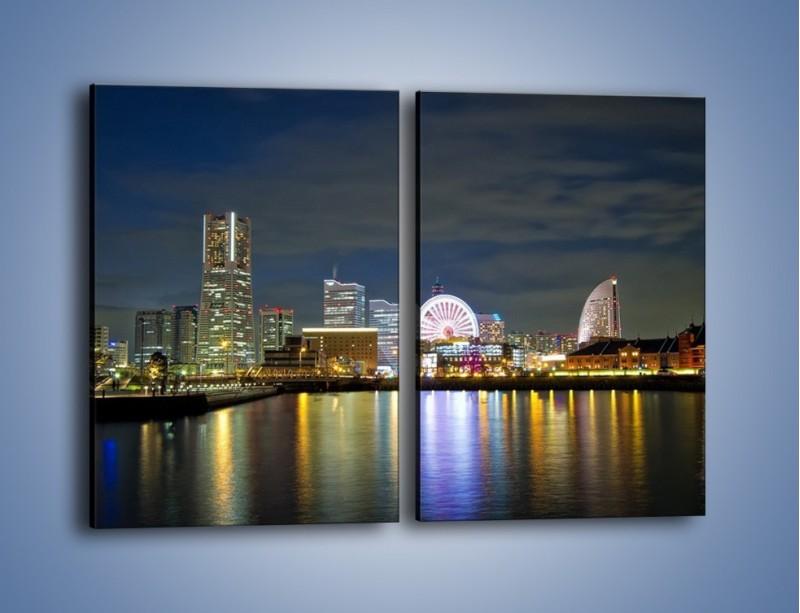 Obraz na płótnie – Yokohama nocą – dwuczęściowy prostokątny pionowy AM353