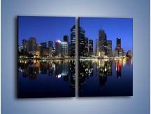 Obraz na płótnie – Brisbane w Australii nocą – dwuczęściowy prostokątny pionowy AM354