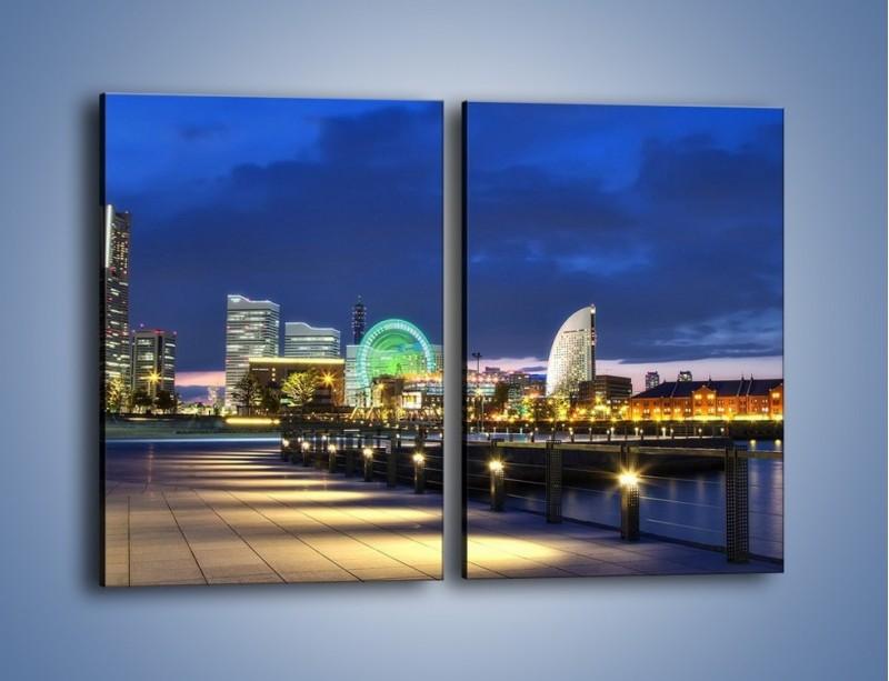 Obraz na płótnie – Rozświetlona Yokohama w nocy – dwuczęściowy prostokątny pionowy AM355