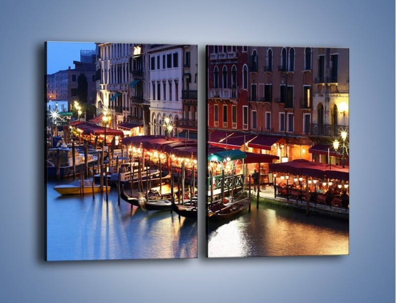 Obraz na płótnie – Wieczorowe życie w Wenecji – dwuczęściowy prostokątny pionowy AM358