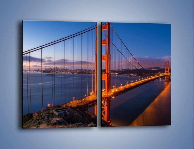 Obraz na płótnie – Rozświetlony most Golden Gate – dwuczęściowy prostokątny pionowy AM360