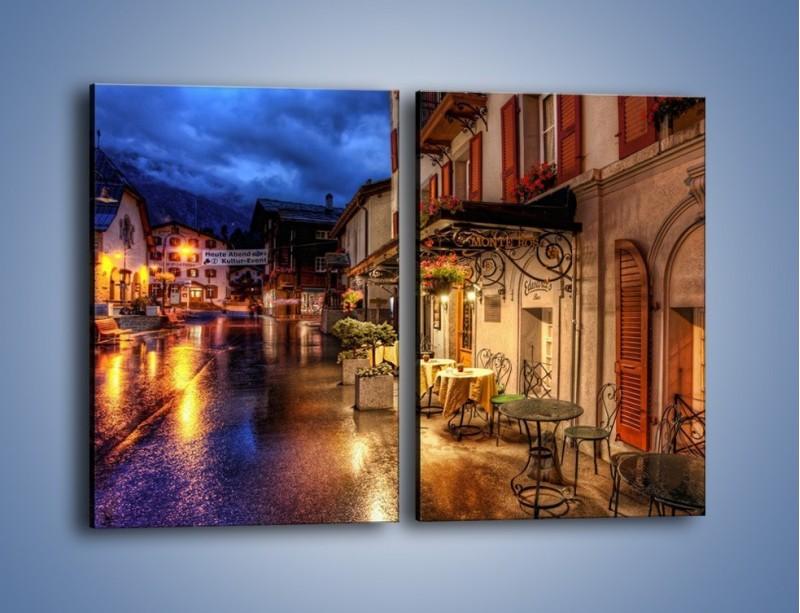 Obraz na płótnie – Romantyczne miasteczko pod Alpami – dwuczęściowy prostokątny pionowy AM368