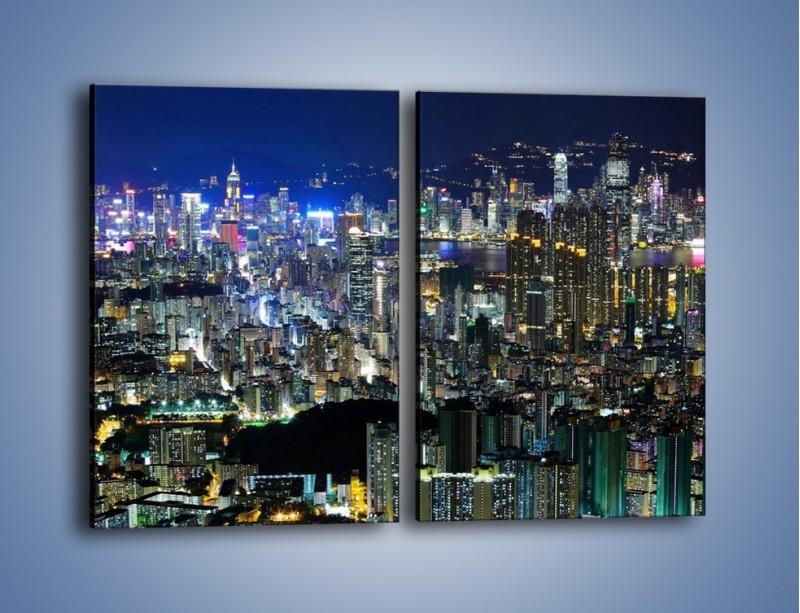 Obraz na płótnie – Drapacze chmur w Hong Kongu – dwuczęściowy prostokątny pionowy AM369