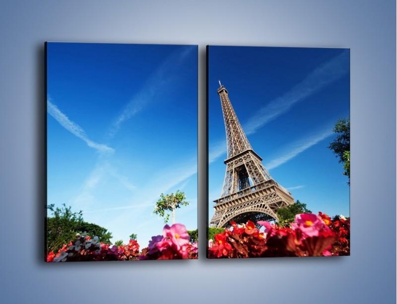 Obraz na płótnie – Wieża Eiffla pod błękitnym niebem – dwuczęściowy prostokątny pionowy AM379