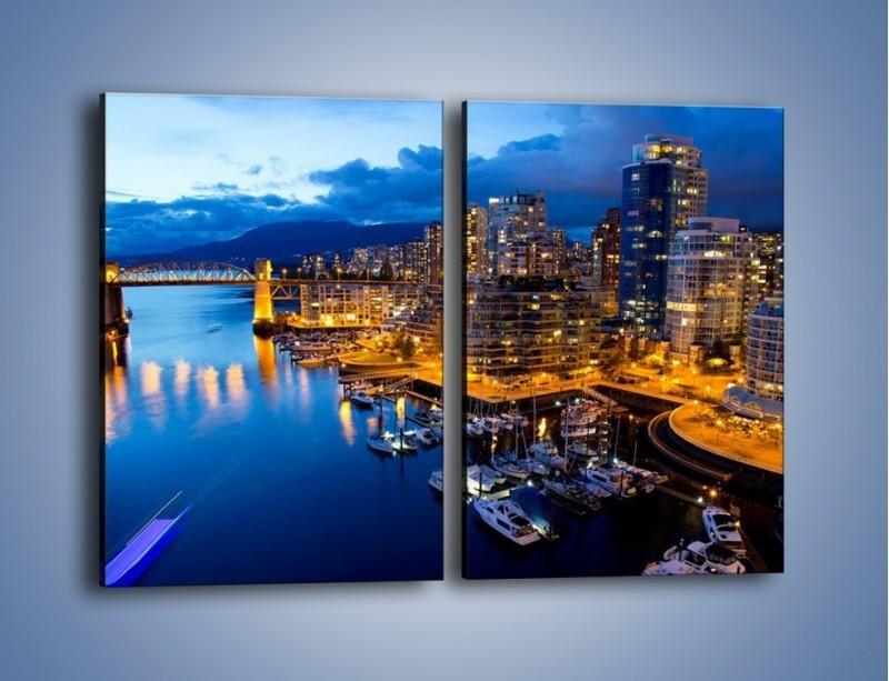 Obraz na płótnie – Zapadająca noc nad Vancouver – dwuczęściowy prostokątny pionowy AM384