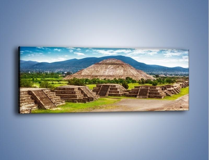 Obraz na płótnie – Piramida Słońca w Meksyku – jednoczęściowy panoramiczny AM450