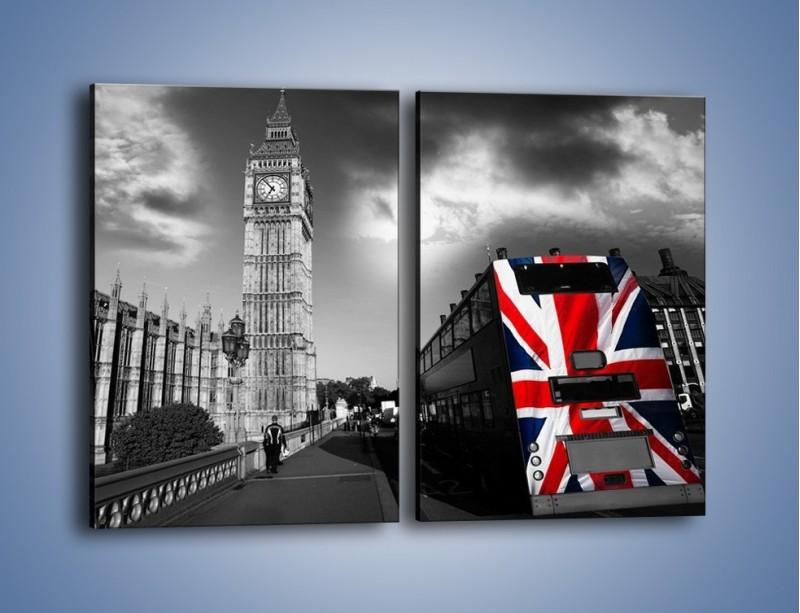 Obraz na płótnie – Big Ben i autobus z flagą UK – dwuczęściowy prostokątny pionowy AM396