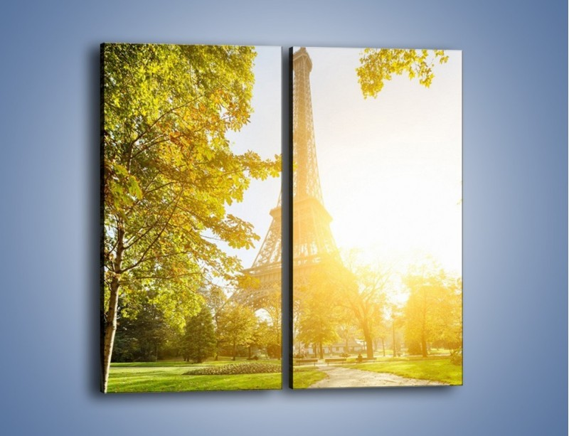 Obraz na płótnie – Wieża Eiffla w świetle słońca – dwuczęściowy prostokątny pionowy AM398