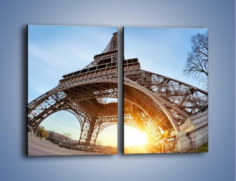Obraz na płótnie – Wieża Eiffla w słońcu – dwuczęściowy prostokątny pionowy AM403