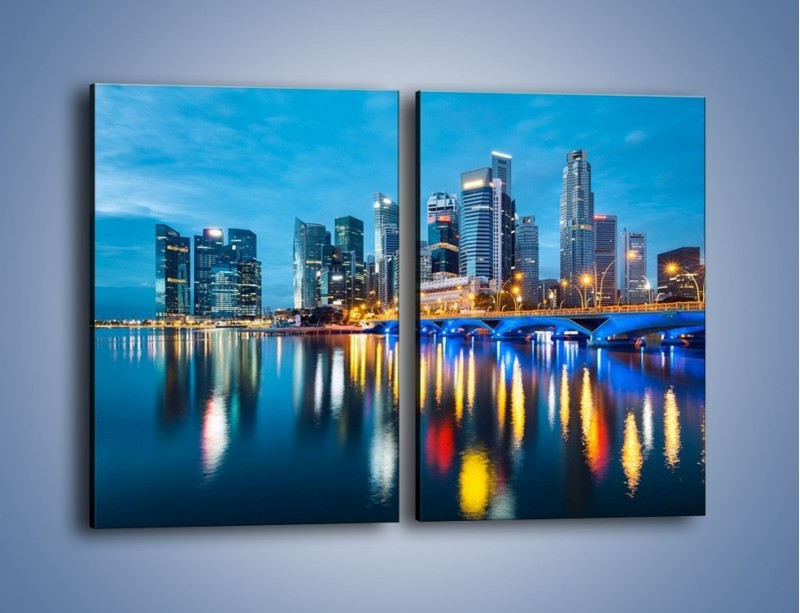 Obraz na płótnie – Kolorowe światła Singapuru – dwuczęściowy prostokątny pionowy AM408