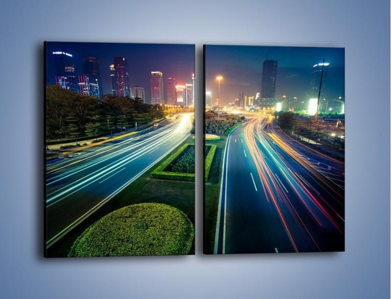 Obraz na płótnie – Uliczne światła Szanghaju – dwuczęściowy prostokątny pionowy AM409