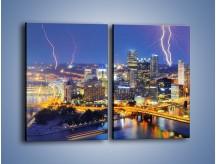 Obraz na płótnie – Burza nad Pittsburgiem – dwuczęściowy prostokątny pionowy AM410