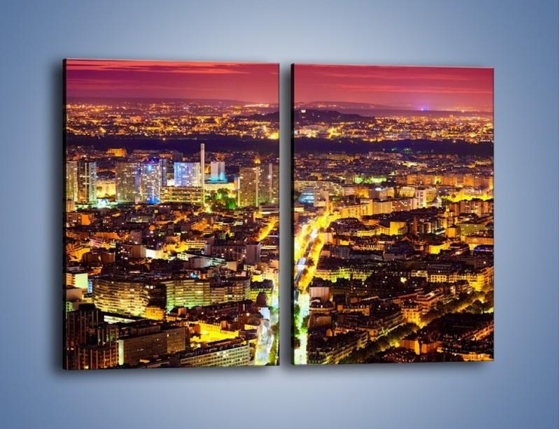 Obraz na płótnie – Kolory Paryża nocą – dwuczęściowy prostokątny pionowy AM419