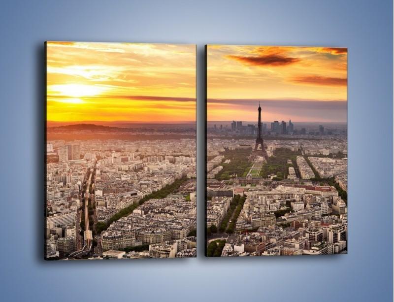 Obraz na płótnie – Zachód słońca nad Paryżem – dwuczęściowy prostokątny pionowy AM420