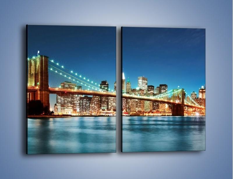 Obraz na płótnie – Most Brookliński na tle Nowego Jorku – dwuczęściowy prostokątny pionowy AM428