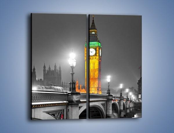 Obraz na płótnie – Oświetlony Big Ben na tle szarości – dwuczęściowy prostokątny pionowy AM431