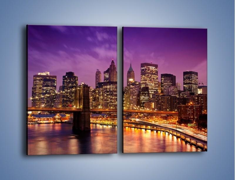 Obraz na płótnie – Nowy York pod fioletowym niebem – dwuczęściowy prostokątny pionowy AM434
