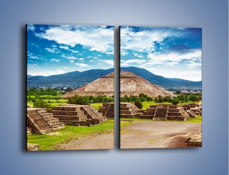 Obraz na płótnie – Piramida Słońca w Meksyku – dwuczęściowy prostokątny pionowy AM450
