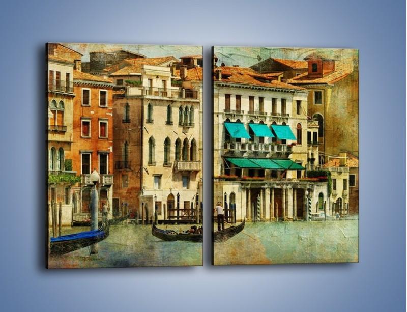 Obraz na płótnie – Weneckie domy w stylu vintage – dwuczęściowy prostokątny pionowy AM459