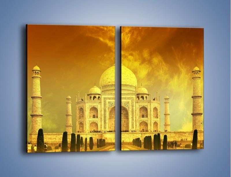 Obraz na płótnie – Tadź Mahal w żółtym kolorze – dwuczęściowy prostokątny pionowy AM465