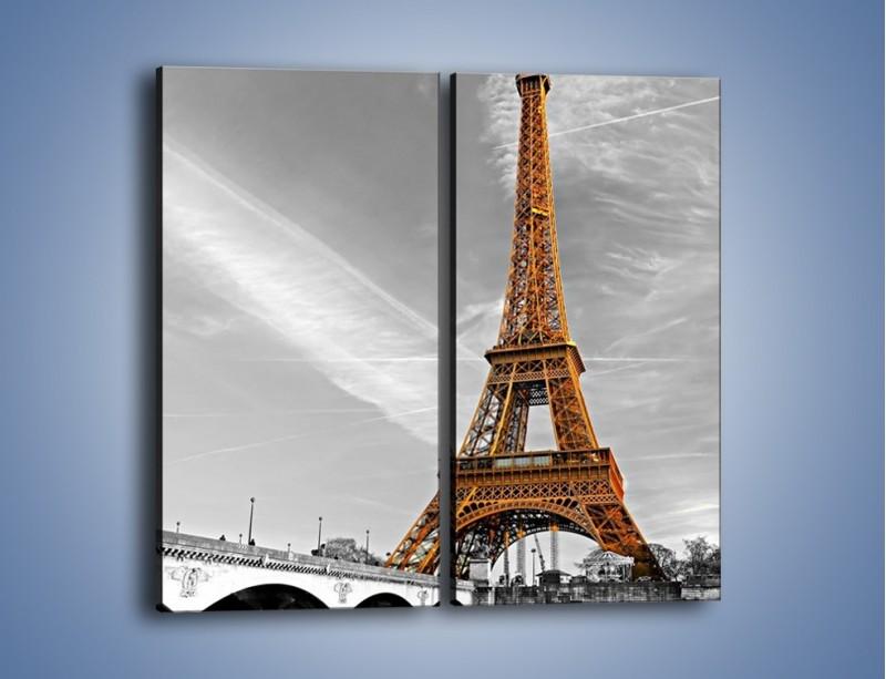 Obraz na płótnie – Wieża Eiffla na szarym tle – dwuczęściowy prostokątny pionowy AM467