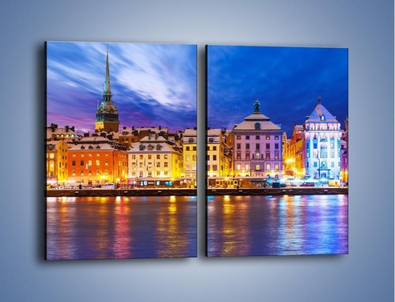 Obraz na płótnie – Sztokholm w zimowej scenerii – dwuczęściowy prostokątny pionowy AM468