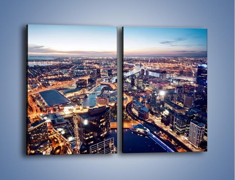 Obraz na płótnie – Panorama Melbourne po zmierzchu – dwuczęściowy prostokątny pionowy AM470