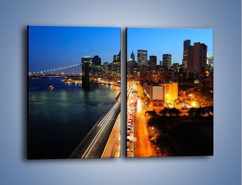 Obraz na płótnie – Manhattan wieczorową porą – dwuczęściowy prostokątny pionowy AM477
