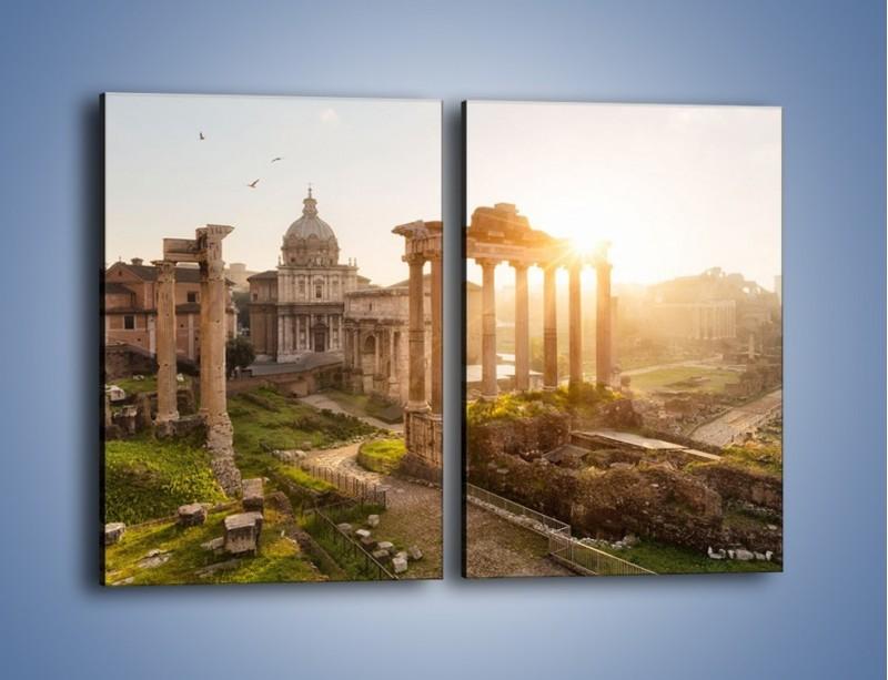 Obraz na płótnie – Rzymskie ruiny o zachodzie słońca – dwuczęściowy prostokątny pionowy AM480