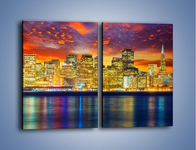 Obraz na płótnie – Wieżowce San Francisco nad wodą – dwuczęściowy prostokątny pionowy AM481