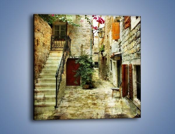 Obraz na płótnie – Dziedziniec w chorwackim miasteczku – jednoczęściowy kwadratowy AM733