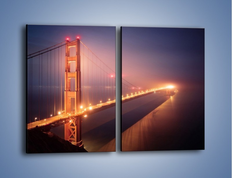 Obraz na płótnie – Most Golden Gate w nocnej mgle – dwuczęściowy prostokątny pionowy AM490