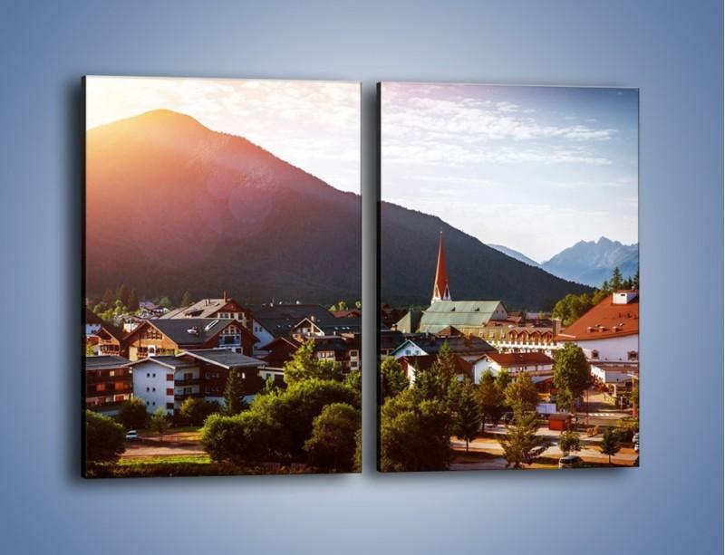 Obraz na płótnie – Austryjackie miasteczko u podnóży gór – dwuczęściowy prostokątny pionowy AM496