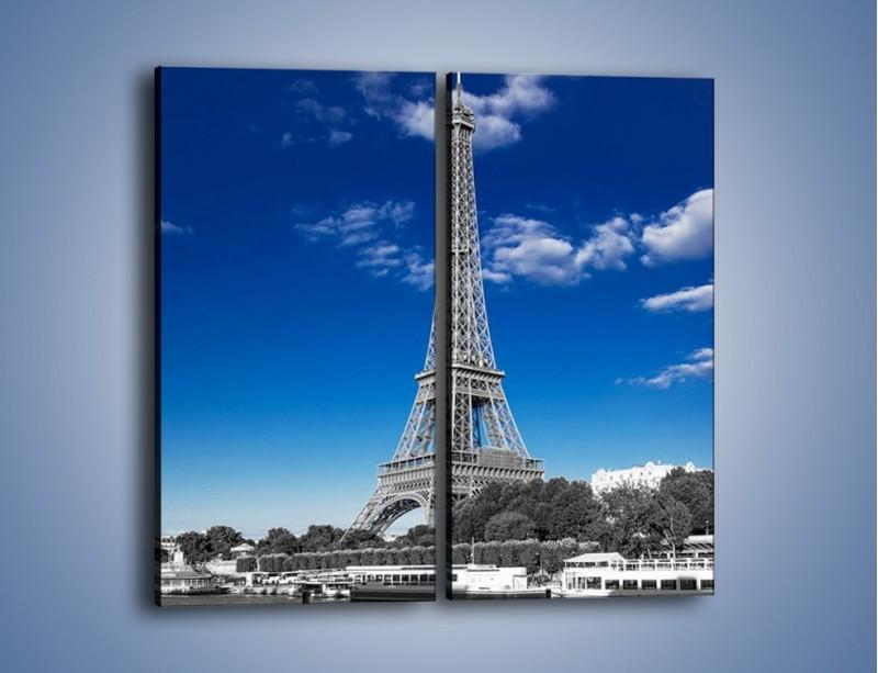 Obraz na płótnie – Wieża Eiffla w kolorze szarości – dwuczęściowy prostokątny pionowy AM497