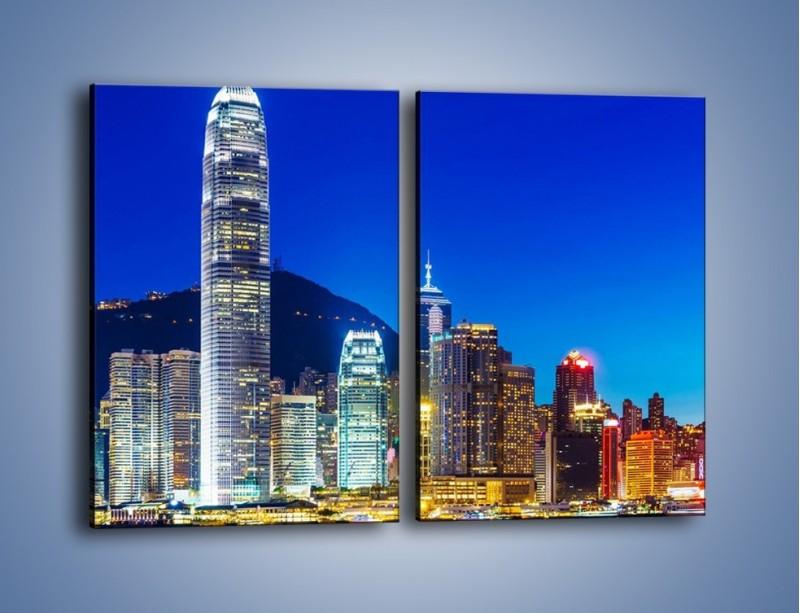 Obraz na płótnie – Oświetlone wieżowce Hong Kongu – dwuczęściowy prostokątny pionowy AM498
