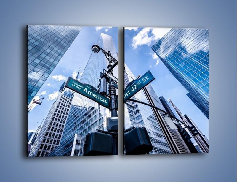 Obraz na płótnie – Skrzyżowanie ulic w Nowym Jorku – dwuczęściowy prostokątny pionowy AM501