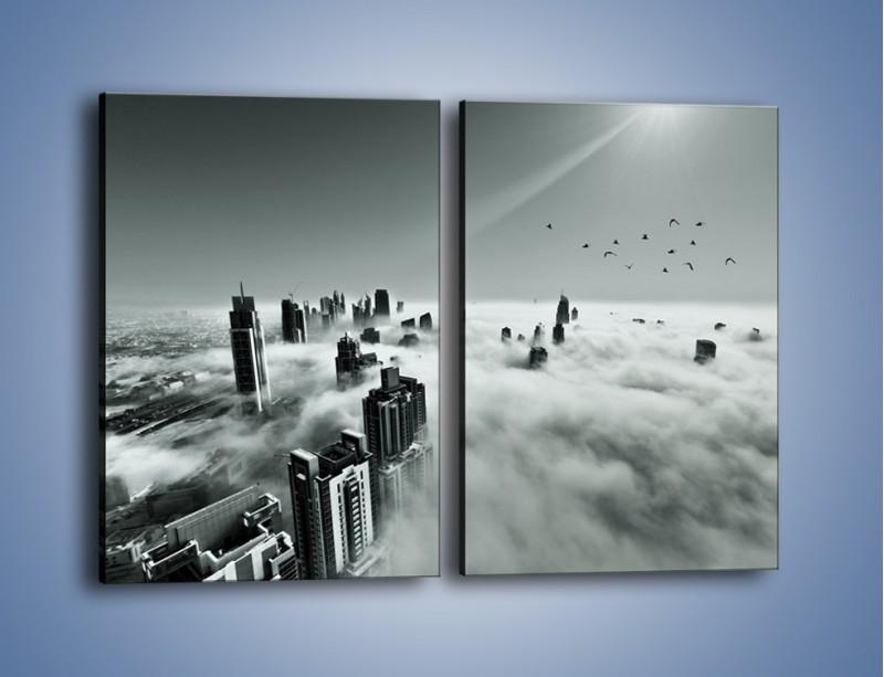 Obraz na płótnie – Centrum Dubaju we mgle – dwuczęściowy prostokątny pionowy AM502