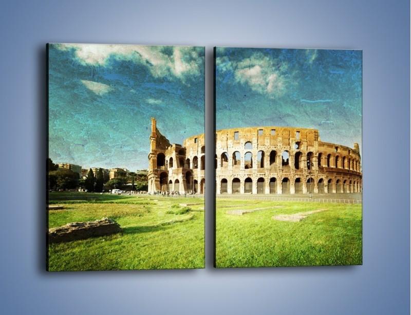 Obraz na płótnie – Koloseum w stylu vintage – dwuczęściowy prostokątny pionowy AM503