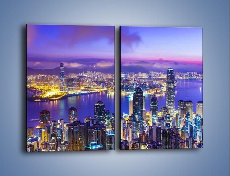 Obraz na płótnie – Wieczorna panorama Hong Kongu – dwuczęściowy prostokątny pionowy AM505