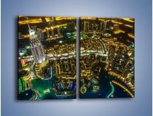 Obraz na płótnie – Dubaj nocą z lotu ptaka – dwuczęściowy prostokątny pionowy AM507