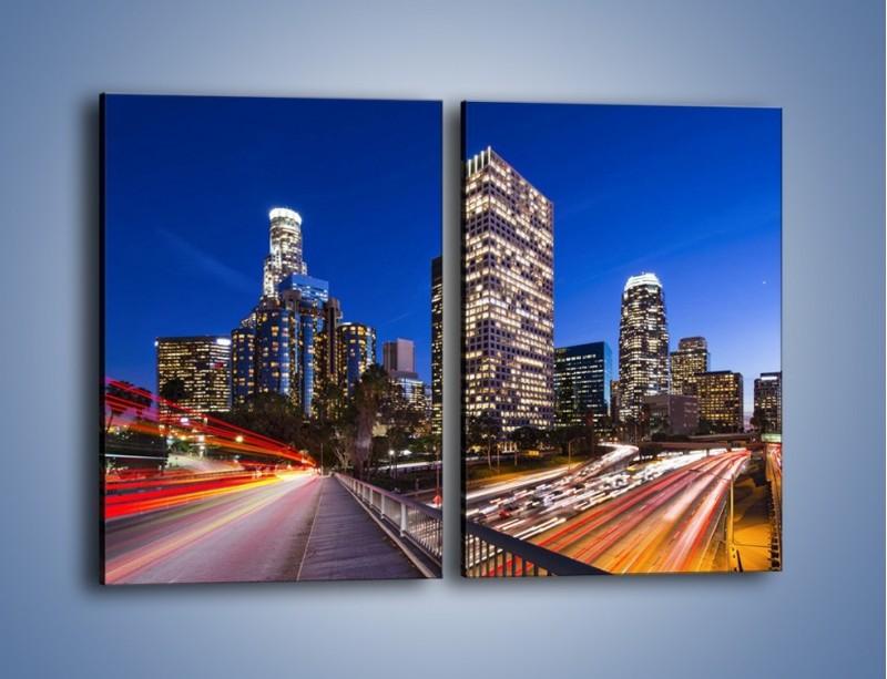 Obraz na płótnie – Los Angeles w wieczornych światłach – dwuczęściowy prostokątny pionowy AM522