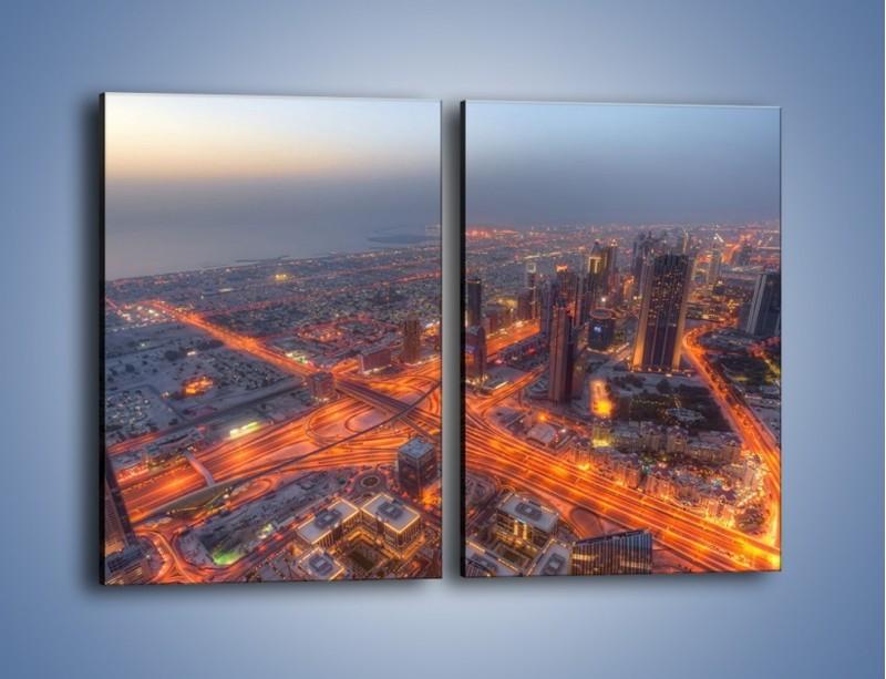 Obraz na płótnie – Panorama Dubaju o poranku – dwuczęściowy prostokątny pionowy AM538