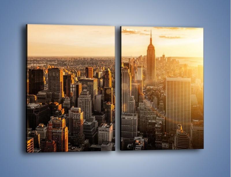 Obraz na płótnie – Zachód słońca nad Nowym Jorkiem – dwuczęściowy prostokątny pionowy AM550