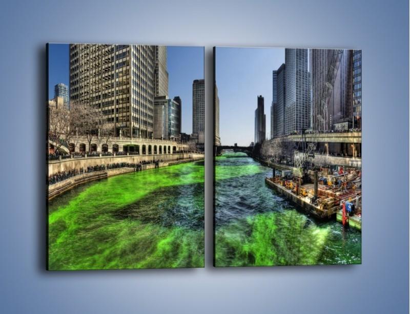 Obraz na płótnie – Chicago River w Dzień św. Patryka – dwuczęściowy prostokątny pionowy AM605