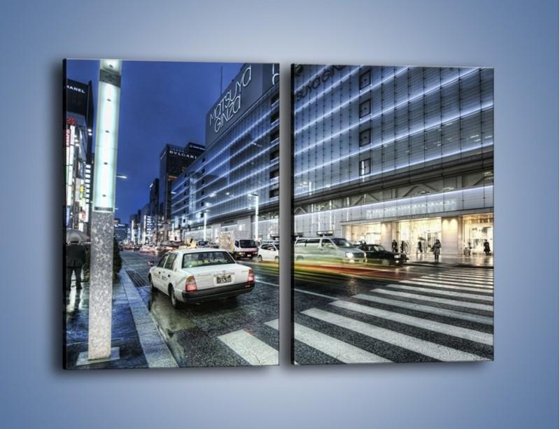 Obraz na płótnie – Ulica Tokyo w deszczu – dwuczęściowy prostokątny pionowy AM613