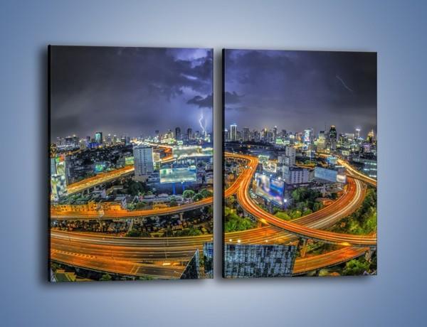 Obraz na płótnie – Burza nad Bangkokiem – dwuczęściowy prostokątny pionowy AM622